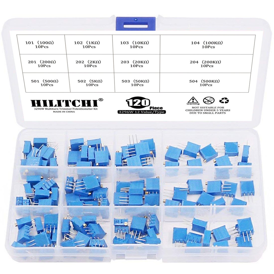 Hilitchi 120-Pcs [100 to 500K] ohm 3296W Multiturn Trimmer Potentiometer Assortment Kit - [12 Value]