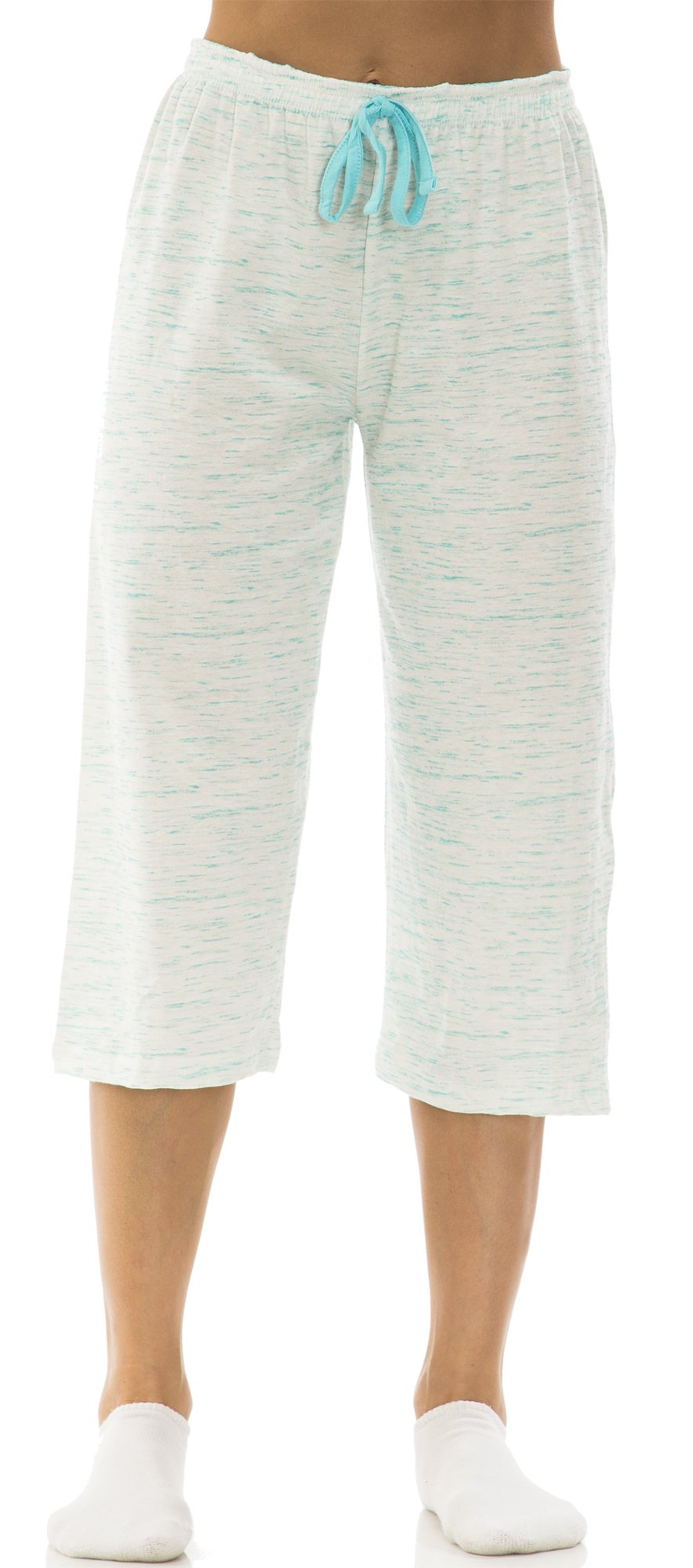 dollhouse (6221DH) Womans Marled Cotton Jersey Capri Lounge Pant Size: XLarge In Blue (420)