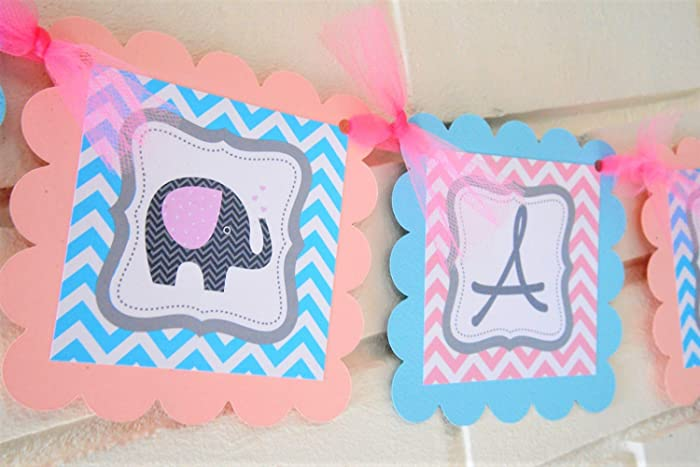 Amazon Light Pink And Baby Blue Gender Reveal Elephant Baby