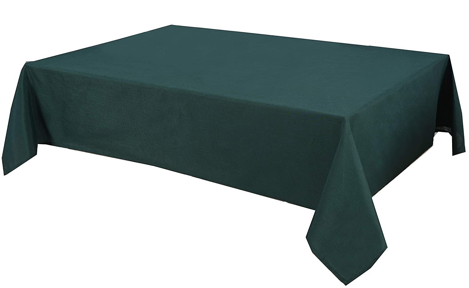 Biscaynebay Fabric Table Cloth, Water Resistant Spill Proof Fabric Tablecloths for Dining, Kitchen, Wedding and Party (60X84, Hunter Green)
