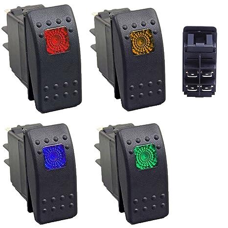 Encendido//Apagado, con luz 5 x LED Azul Interruptor basculante con luz LED Azul Impermeable de 12 V y 20 Amp DCFlat 3 Pines