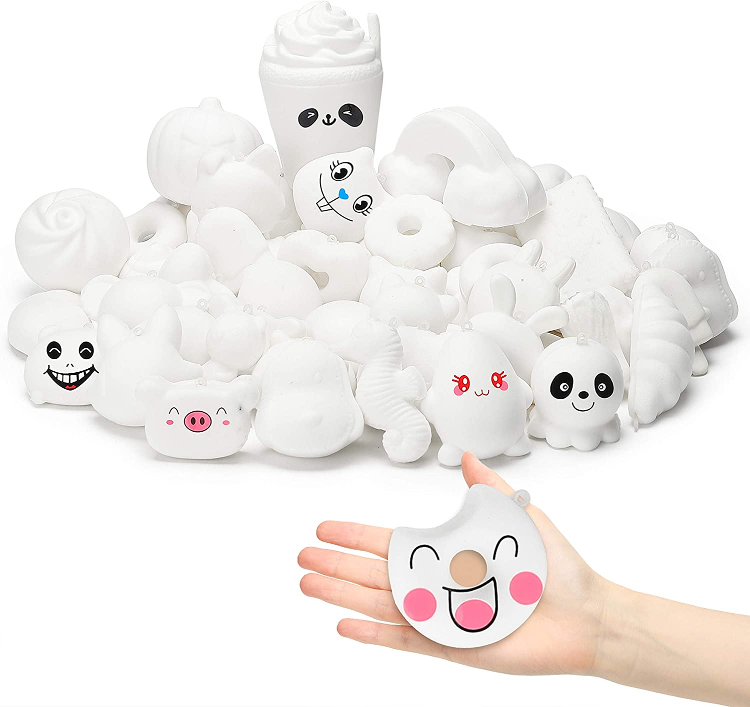 WATINC Random 50Pcs DIY Squeeze Toys Bulk, Slow Rising Scented Toy, Lovely Novelty Mini Animal Food Toys for Squeezing, Keychains Phone Straps with Bonus Random Stickers