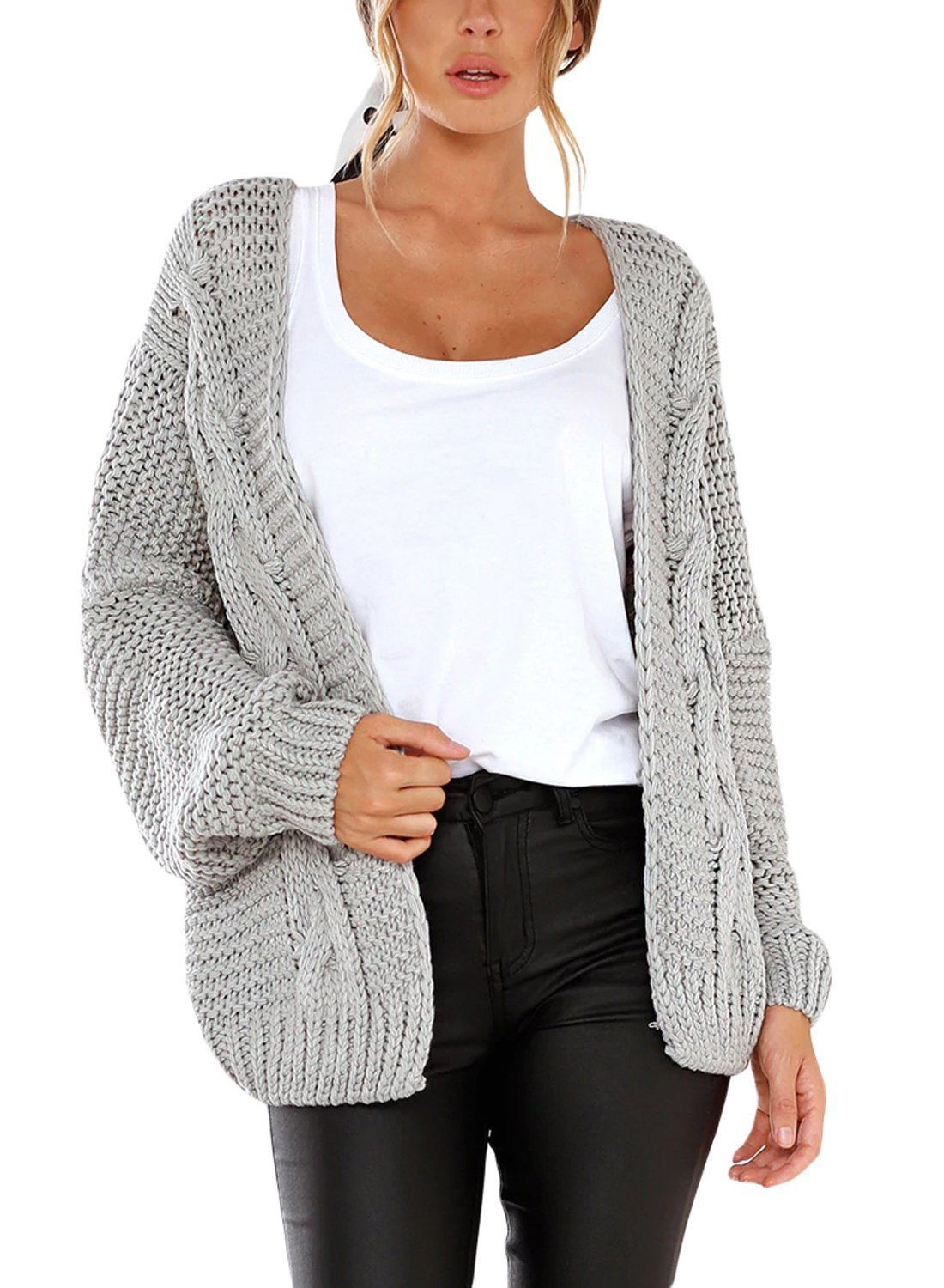Women's Casual Long Sleeve Open Front Chunky Cable Knit Cardigan Sweaters Loose Oversized Outwear Coat Jacket Grey XL 16 18