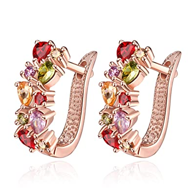 74d384fa5 Earrings for Women Teens Girls Crystal CZ Birthstone Stud Earrings Jewelry  for Women 18K Rose Gold