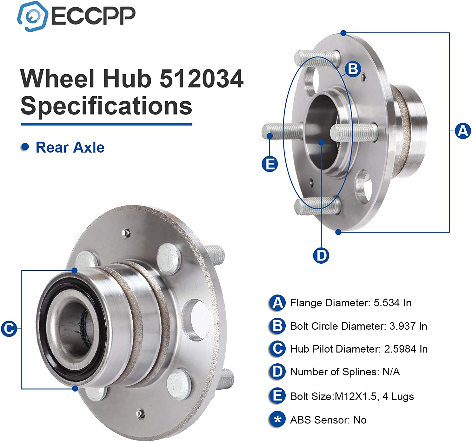 ECCPP Rear Wheel Hub Bearing Assembly 4 Lugs for 1994-1997 Honda Acura Compatible with 512034 065739-5211-0927301
