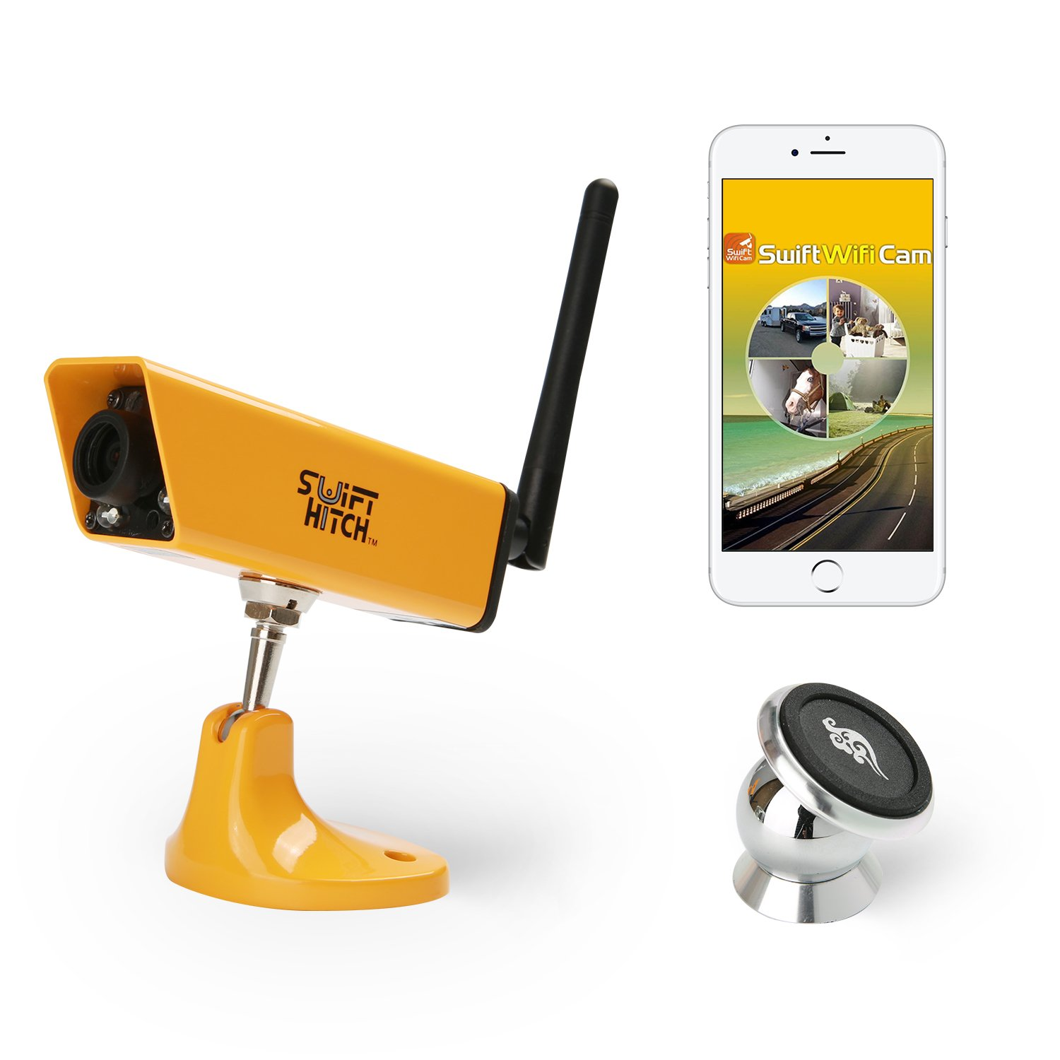 Swift Hitch SH04 Wireless Backup Camera System for Trailer Hitch Up, RV Rear View with Water Resistant and Magnetic Mount Features (iPhone / iPad, Android Device Supported, Viewed by WiFi Link) Suntronics Technologies Inc.