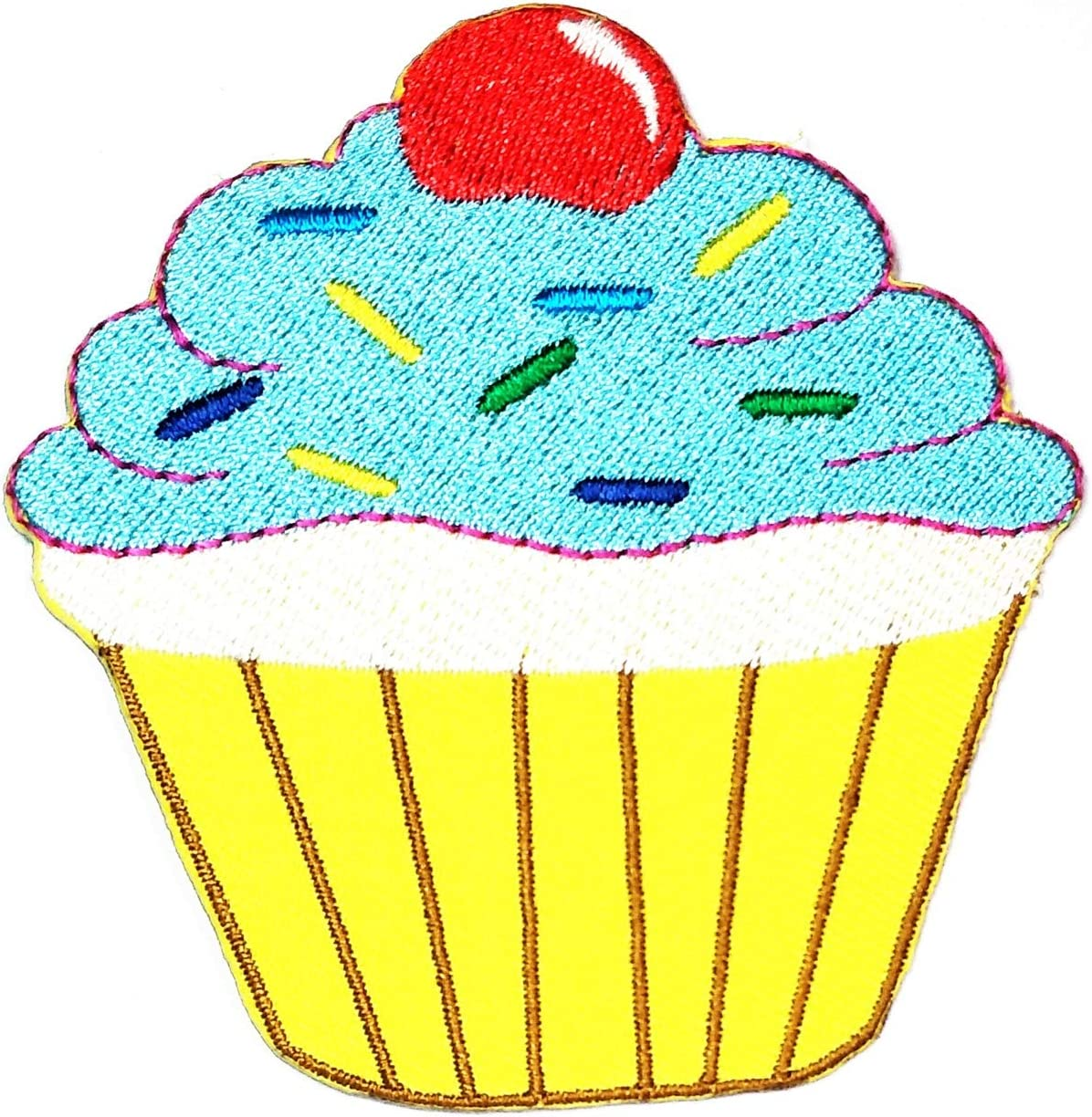 Yellow Cup Red Cherry Cupcake Patch Jacket Polo T- Shirt Hat Backpacks Applique Embroidered Sew Iron on Patch Cake Happy Birthday Cupcake Bakery Sweets Dessert Food Patches Sticker Cartoon (15)
