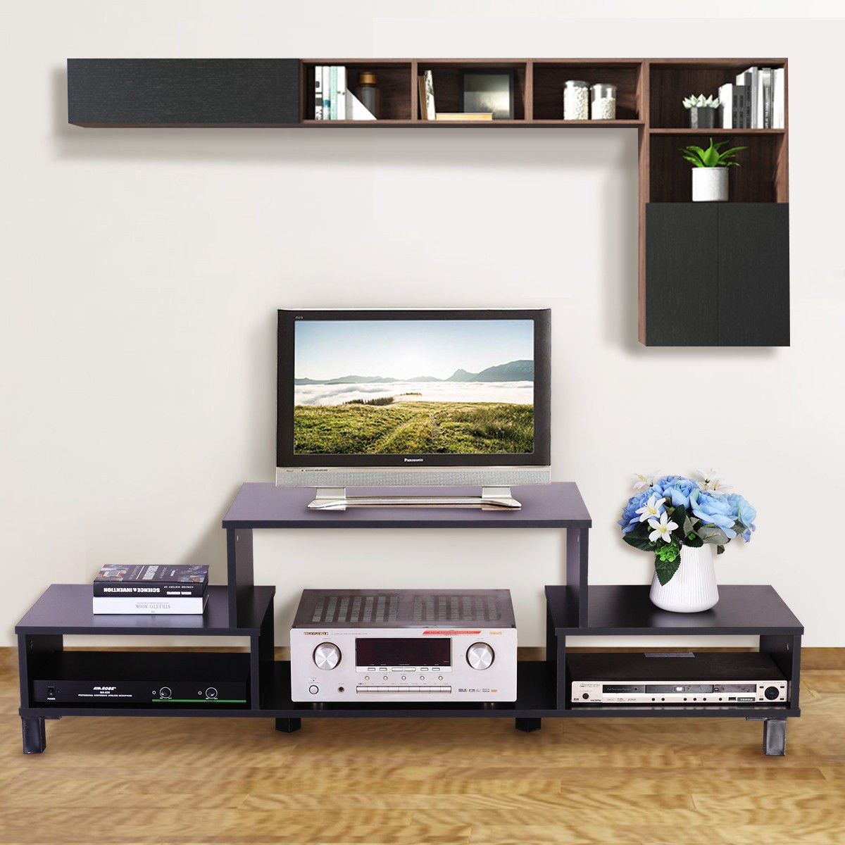 Amazon.com: LAZYMOON Media Cabinet Table Home TV Stand Entertainment ...