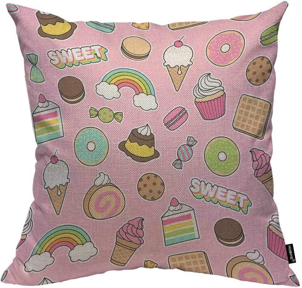 HOSNYE Cute Dessert Throw Pillow Case Cushion Covers Ice Cream Donut Candy Cake Pattern with Pink Background Cotton Linen for Couch Bed Sofa Car Waist 18 x 18 inch