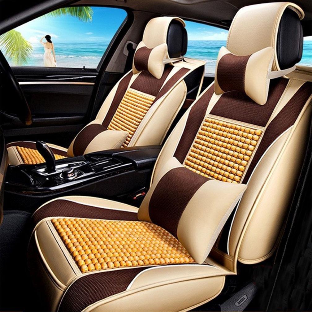 HOMEE@ Summer Wood Bead Car Cushion Four Seasons Common Cold Pad Car Supplies Car Cushion Sets , Beige,beige