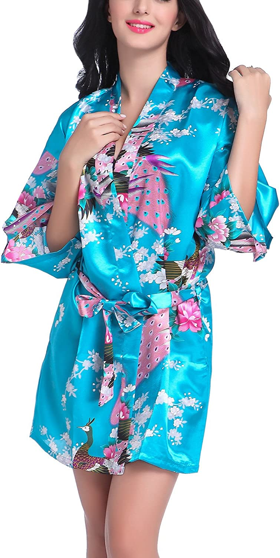 faybox Novia Mujeres Corto Kimono Túnica Dama Pavo Real y Flores Manchas Seda Ropa de Dormir