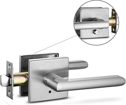 Berlin Modisch Privacy Lever Door Handle Slim Square Easy to Open Locking  Lever Set [for Bedroom or Bathroom] Reversible for Right & Left Sided Doors  ...
