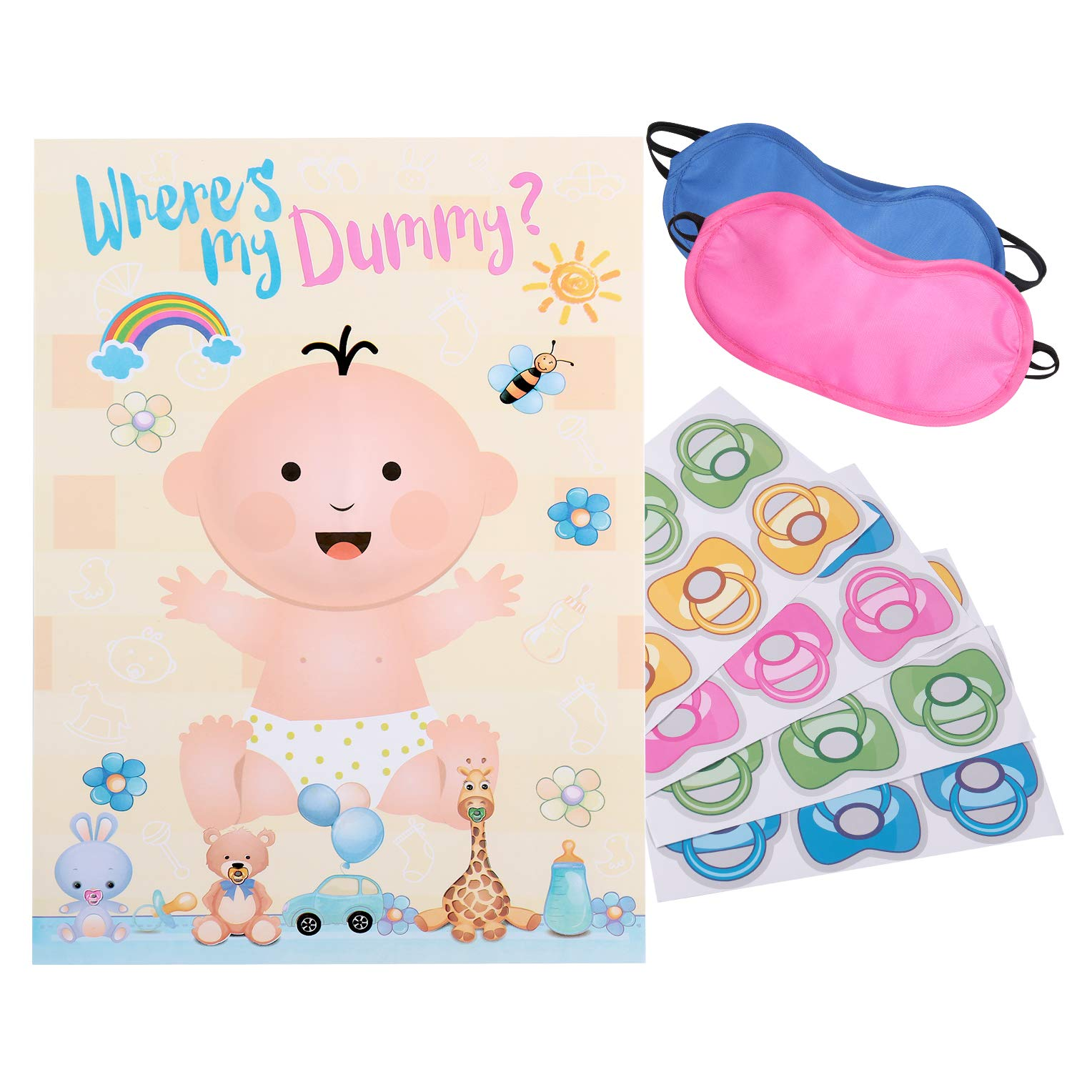 Reusable Baby Shower Games - Pin The Dummy on The Baby Game | 22'' x 34'',  48 Pacifier Stickers | Baby Shower Party Favors for Gender Neutral Boy or