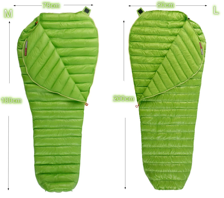 AEGISMAX Outdoor Urltra-Light Goose Down Sleeping Bag Three-Season Down Sleeping Bag Mummy Down Sleeping Bag Green 5