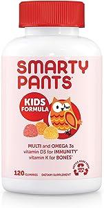 SmartyPants Kids Formula Daily Gummy Multivitamin: Vitamin C, D3, and Zinc for Immunity, Gluten Free, Omega 3 Fish Oil (DHA/EPA), Vitamin B6, Methyl B12, 120 Count (30 Day Supply)