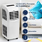 DELLA | 10,000 BTU Portable Air Conditioner | Cooling Fan | Dehumidifier | A/C Remote Control | Window Vent Kit | White