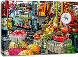 Print Mint The Canvas Print Wall Art - Assaf Frank - Market place in Rome, Italy - European Food Artwork on Canvas Stretched Gallery Wrap. Ready to Hang - 48x36″