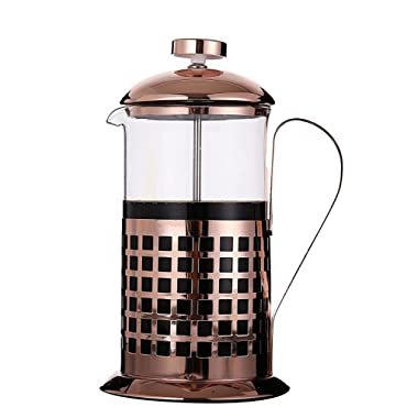 Rhysens French Coffee Press and Tea Maker, Grid Style,8 Cup/4 Mug (1 liter, 34 oz) Teapot,Copper Plated Stainless Steel with Heat Resistant Glass