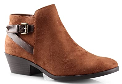 bdb3ae7a3567c SODA Women s Round Toe Faux Suede Stacked Heel Western Ankle Bootie Light  Cognac 5.5