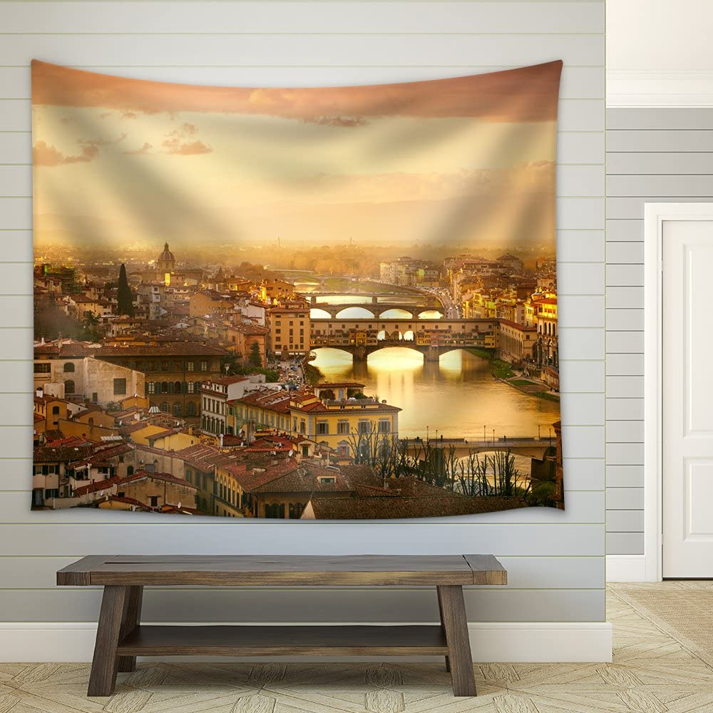 wall26 - Sunset View of Bridge Ponte Vecchio. Florence, Italy - Fabric Wall Tapestry Home Decor - 68x80 inches
