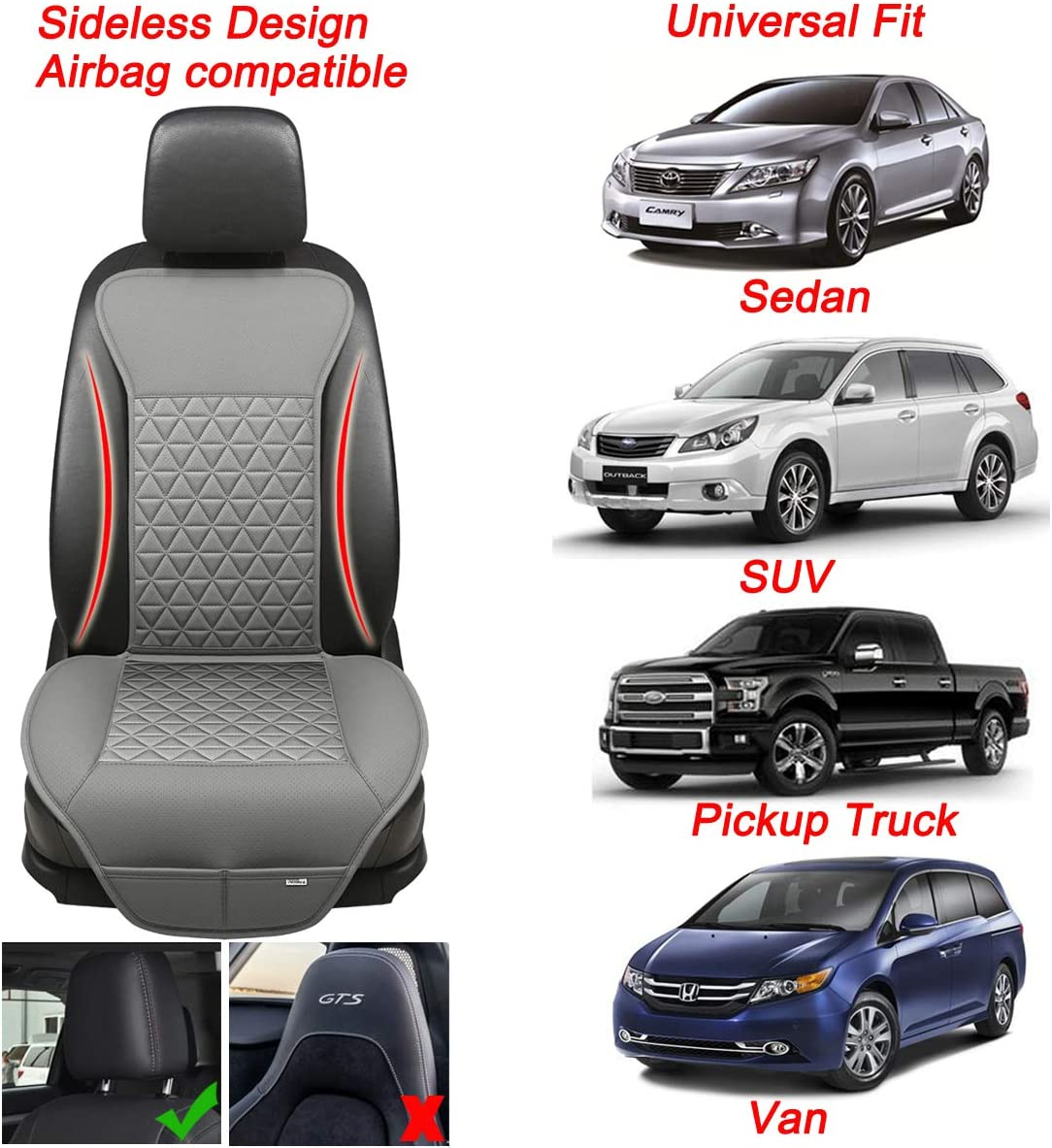 Black Panther 1 Piece Luxury PU Leather Front Car Seat Cover Protector Compatible with 95/% Cars Black Triangle Quilting Design Sedan//SUV//Pickup Truck//Van//MPV