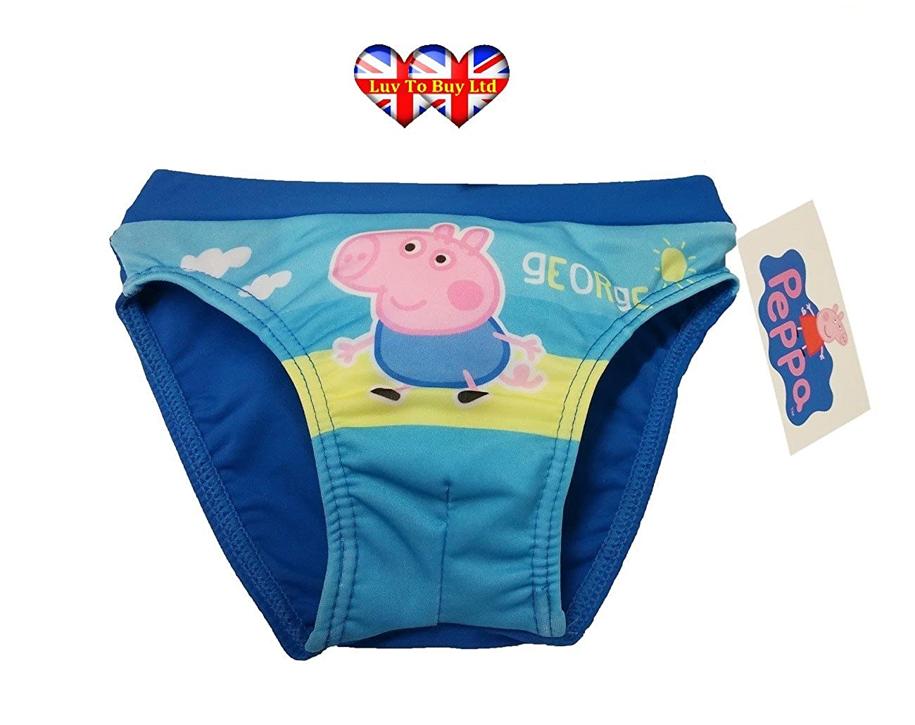 4775d8d2f75f1 Amazon.com: Peppa Pig Boys Swimming Shorts, George Pig Trunks, Boys Swimwear  (2, 3, 4, 5, 6 Years): Clothing