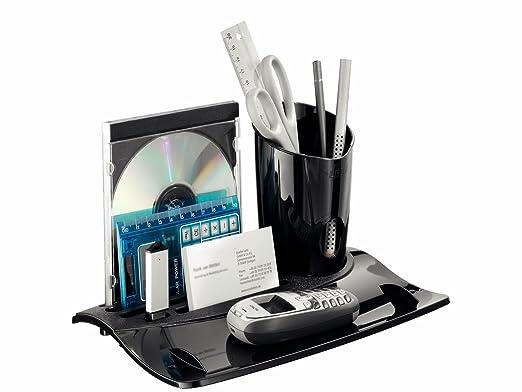 Leitz 5202 - Bandeja organizadora y bote para bolígrafos, color negro brillante: Amazon.es: Oficina y papelería