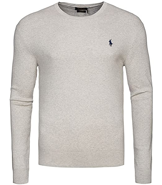 innovative design 72bad 467fd Maglione Uomo POLO RALPH LAUREN Grigio SLIM FIT cotone Pima pullover  sweater maniche lunghe (XL)