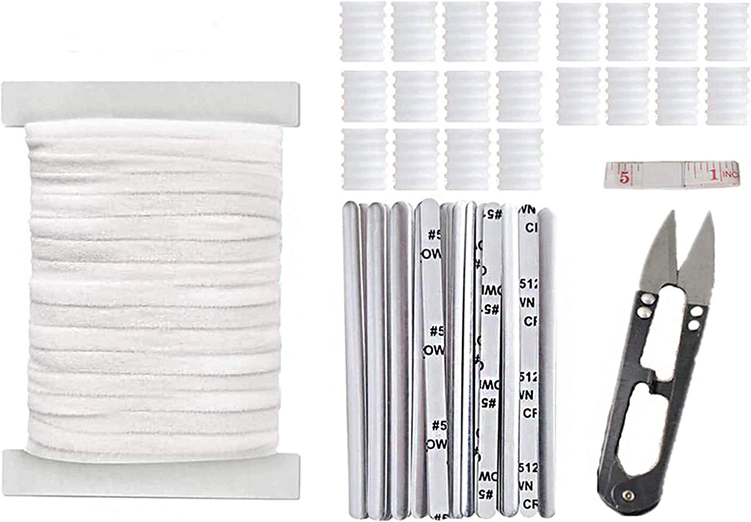 TopLAD 55 Yards 1//5Elastic Band White Flat Elastic String for Masks with 50 pcs Nose Wire Strips and 20 pcs Adjustable Buckle