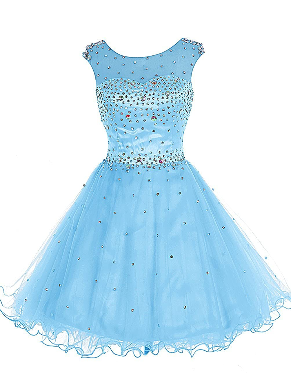 bluee TideClothes Women's Beaded Homecoming Dress Short Party Prom Gowns