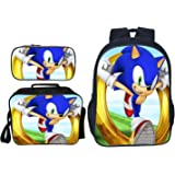 "Sonic Bookbag Schoolbag 16"" Backpack with Insulated Lunch Box Pencil Case for Boys Girls"