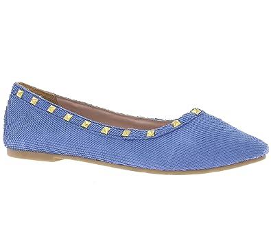 b121e7d3b673 XYXYX Schuhe Echtleder Ballerina Nieten Damen Slipper Blau, Größenauswahl 40
