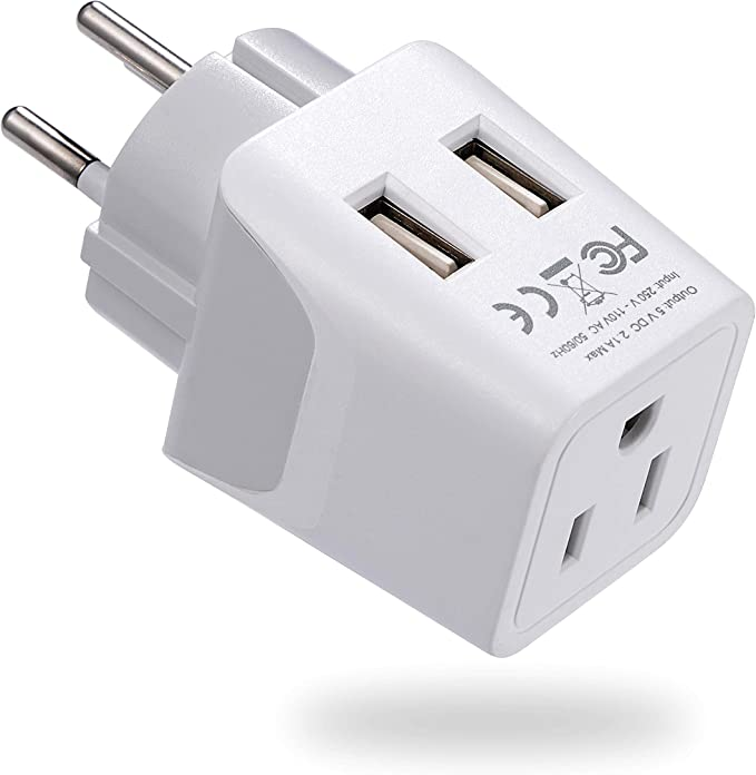 Ceptics Estados Unidos a Japón, Filipinas Adaptador de Viaje Enchufe con Dual USB – Tipo A – Ultra Compacto: Amazon.es: Electrónica