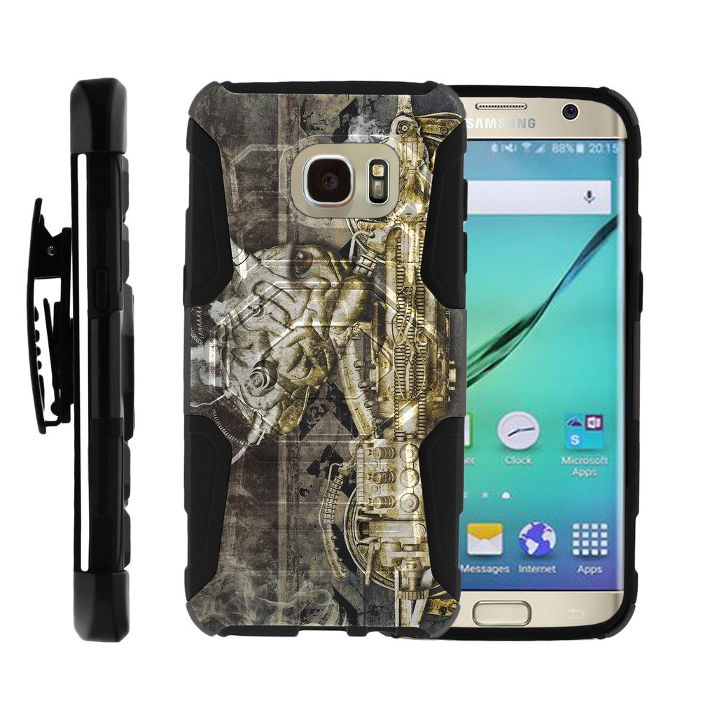 TurtleArmor   Compatible for Samsung Galaxy S7 Edge Case   G935 [Octo Guard] Armor Solid Hybrid Cover Rugged Kickstand Impact Silicone Belt Clip Holster Robot Android Design - Steampunk Machine