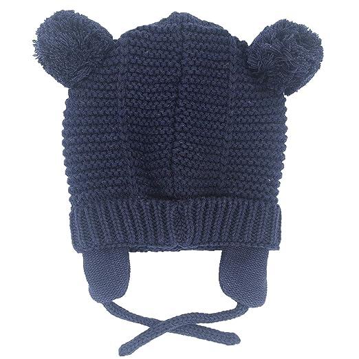 1972cfc4b5f JUNOAI Baby Winter Beanie Hat - Infant Newborn Warm Knitted Cute Bear  Earflap Caps for Boys