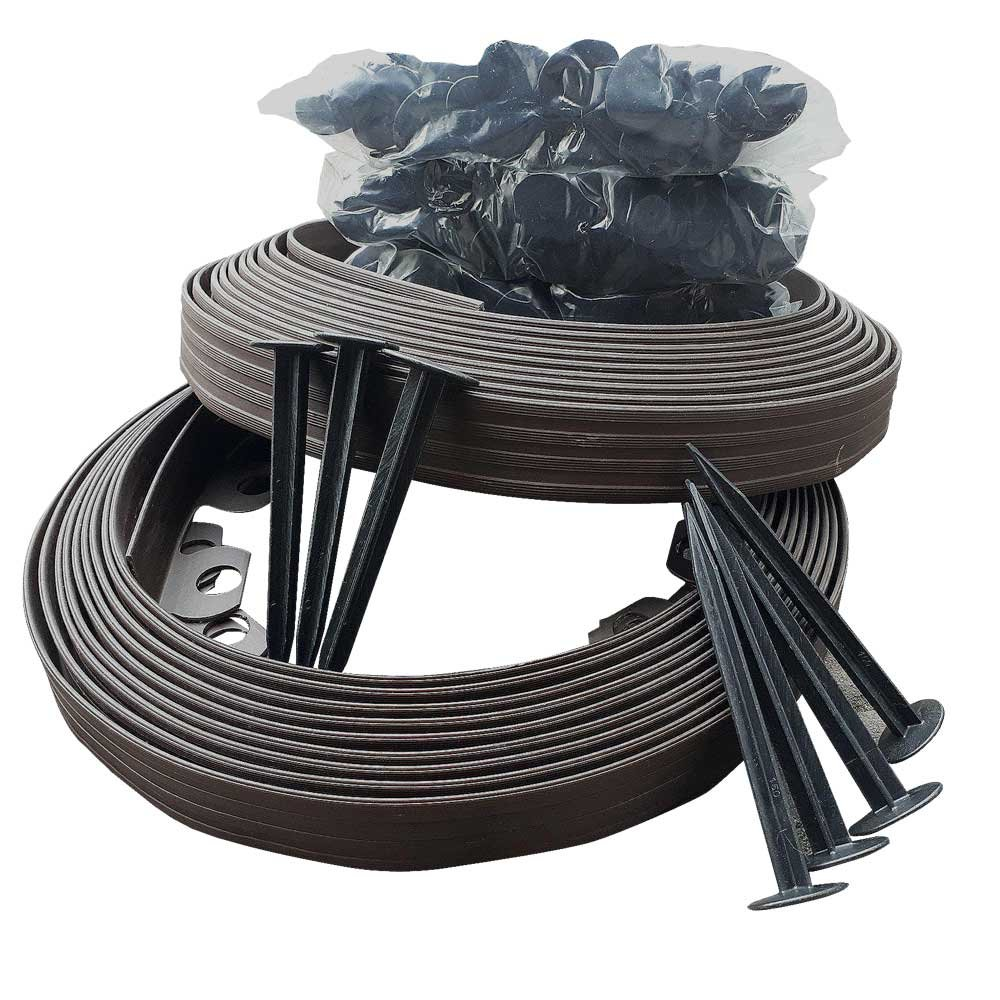 """""""BUY in UK"""" 10 metre - Flexible Plastic Lawn Edging with 30 """"SUPER STRONG"""" (15 centimeters Long Securing Pegs) - Anchor Included-Flexible Garden Edging, Flexible Lawn Edging, Plastic Garden Edging, Flexible Garden Lawn, Garden Ideas, Garden Design. (10 me"""