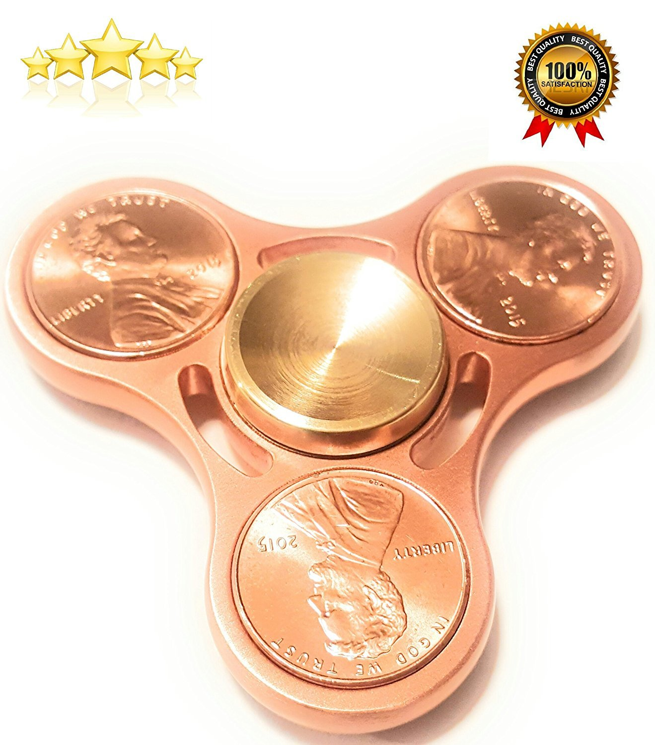 HAND SPINNER FIDGET PRIME METAL EDC TOY ADHD 100 % COPPER PLUS ULTRA DURABLE BEST HIGH SPEED RUNNER PRODUCT RUN UP BETWEEN 4 TO 5 MINUTES TOYS FOR (CHILDREN & ADULTS) GOLD