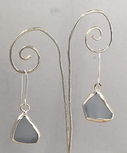 762ff745c Amazon.com: Real rare grayish blue genuine authentic untouched surf tumbled beach  sea glass and fine silver dangle drop earrings one of a kind handmade ...