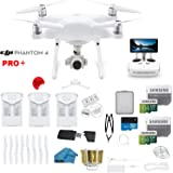 DJI Phantom 4 PRO Plus Drone with 1-inch 20MP 4K Camera KIT with Built in Monitor, 3 Total DJI Batteries, 2 64gb Micro SD Cards, Reader, Guards, Range Extender with Charging Hub