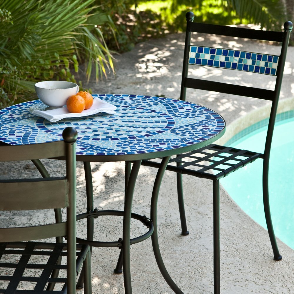 Amazoncom Coral Coast Marina Mosaic Bistro Set Patio Lawn  Garden - Bistro table set