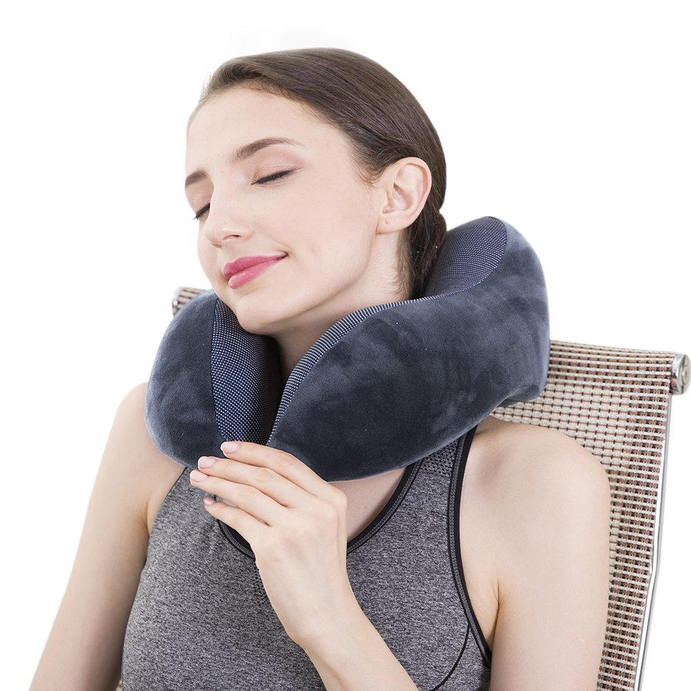 Pon Travel Pillow Luxury Memory Foam Neck & Head Support Pillow Soft Sleeping Rest Cushion for Airplane Car & Home Best Gift(Grey)