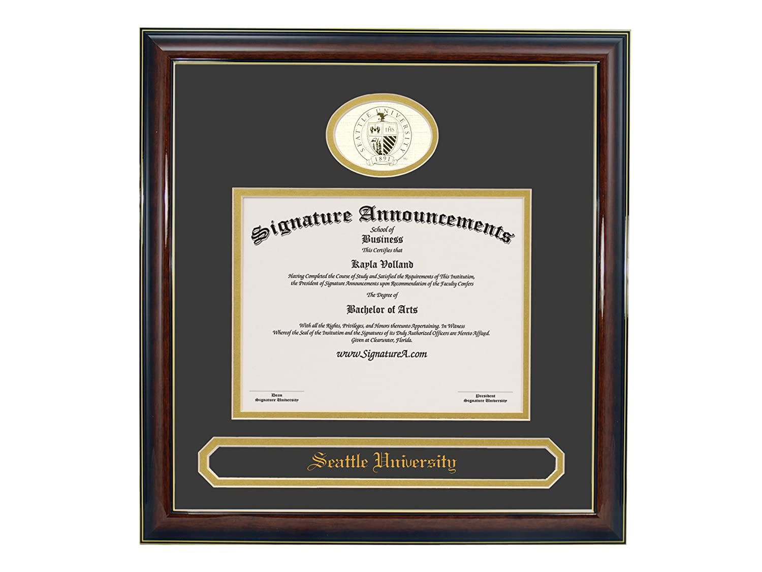 Signature Announcements Seattle University Undergraduate Sculpted Foil Seal /& Name Graduation Diploma Frame 20 x 20 Gloss Mahogany with Gold Accent