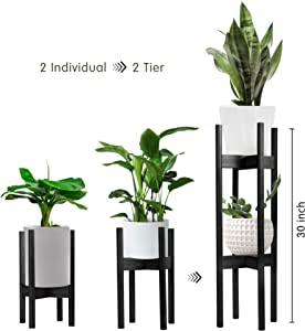 Becko 2 Pack Plant Stands Indoor Plant Racks Pot Holders, 2 Tier Tall Plant Stand for Home Decor Fit Pots in Varied Sizes with Adjustable Width 8 – 12 in, Plant & Pot Not Included (Black)