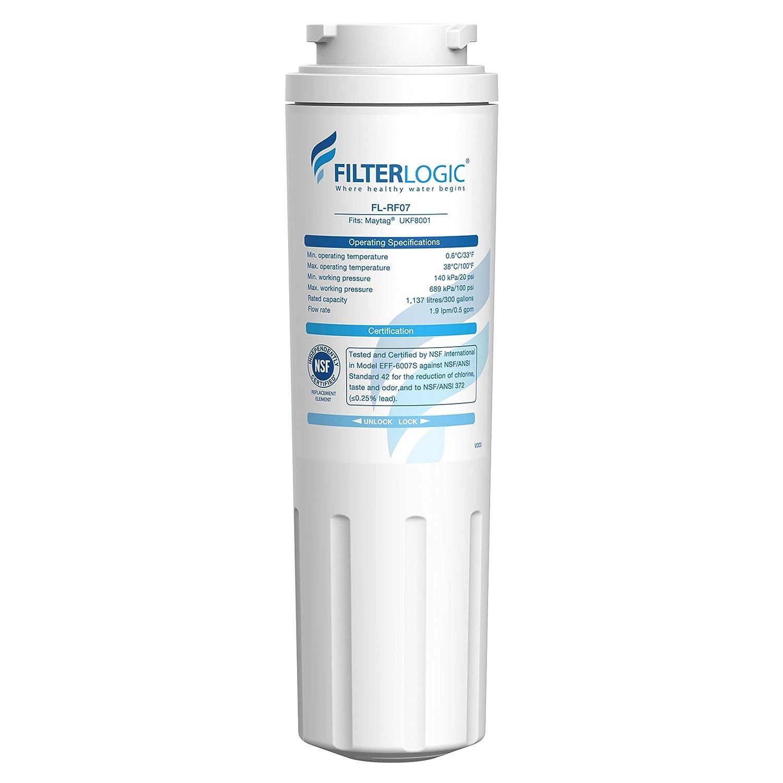 FilterLogic UKF8001 Refrigerator Water Filter, Replacement for Maytag UKF8001P, PUR, Jenn-Air, Filter 4, 4396395, UKF8001AXX, UKF8001AXX-200, UKF8001AXX-750, 469006