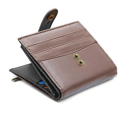 REETEE Carteras Hombre Cuero con RFID Bloqueo Billetera de Hombre Bifold Monedero 14 Ranuras para Tarjetas,Cartera Tarjeta de Crédito con Cremallera y ...