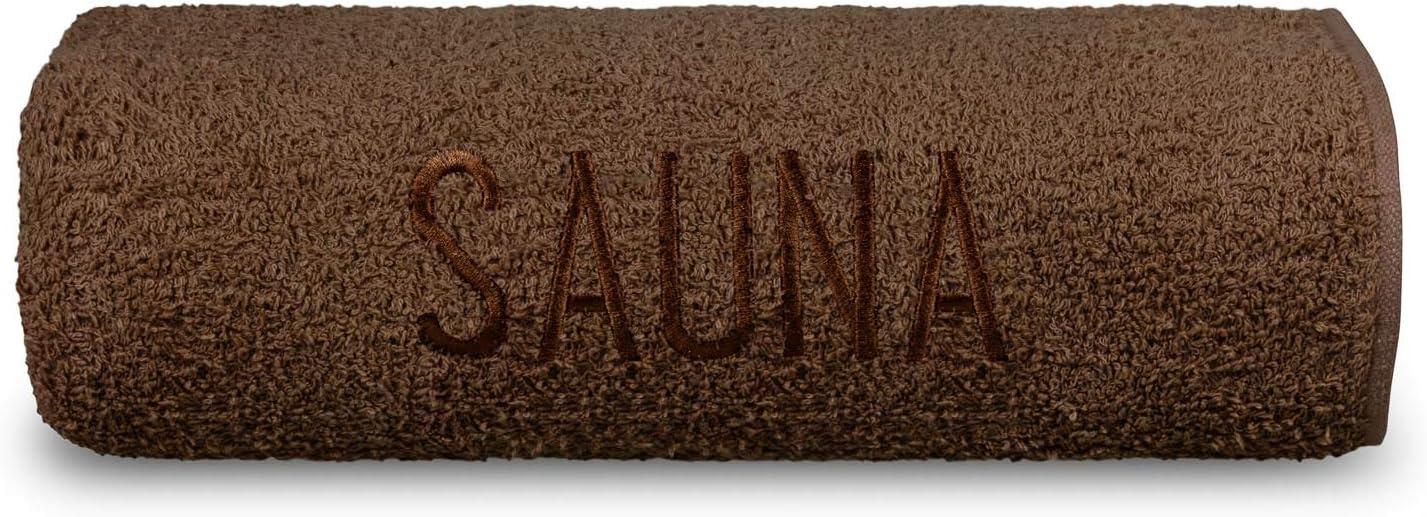 Julido Saunatuch feinste Frottier Baumwolle Handtuch Hamamtuch mit Stickerei 70x200 cm 500g//m/² Taupe