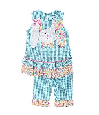 7a90400b85fc Amazon.com  Rare Editions Girls Seersucker Bunny Capri Outfit ...