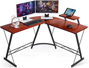 L Shaped Desk Home Office Desk with Round Corner Computer Desk with Large Monitor Stand Desk Workstation, Teak