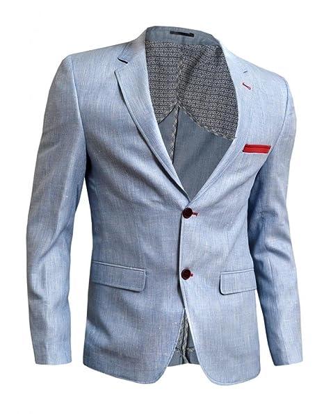 D&R Fashion para hombre de la chaqueta informal chaqueta Slim Fit Outlet rojo azul de Paisley