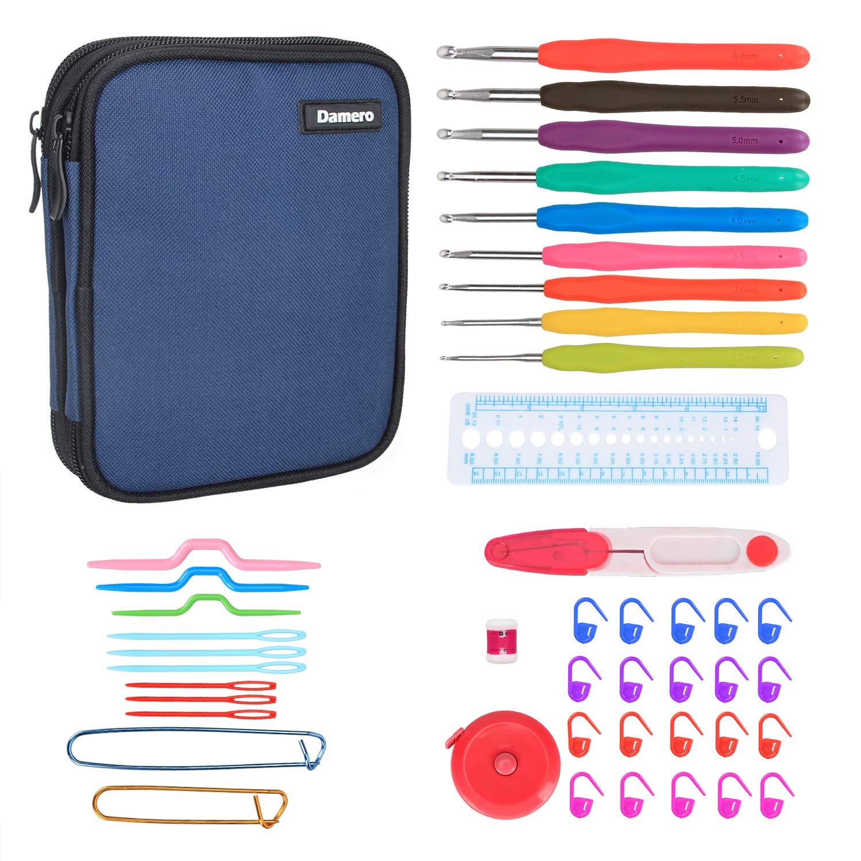 Damero Crochet Hooks Set, Crochet Hooks Kits with 9 Pcs Soft Grip Handles Ergonomic Crochet and Accessories, Crochet Set for Beginners and Crocheters, Dark Blue